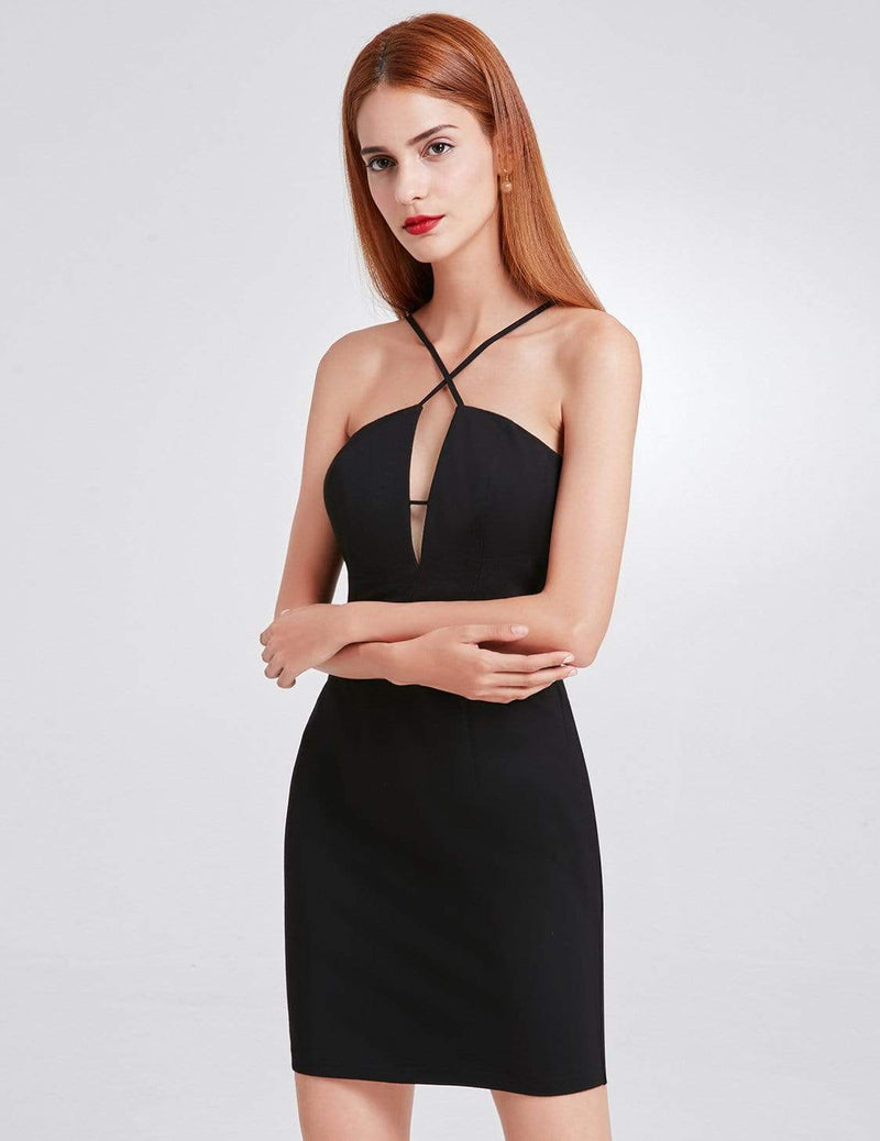 Alisa Pan Sexy Fitted Little Black Dress-Black 5