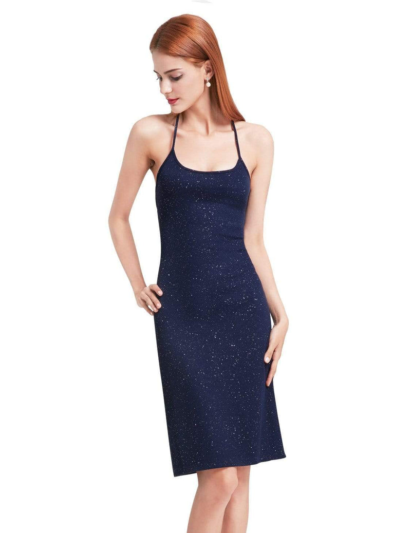 Alisa Pan Cross Back Stardust Cocktail Dress-Navy Blue 2