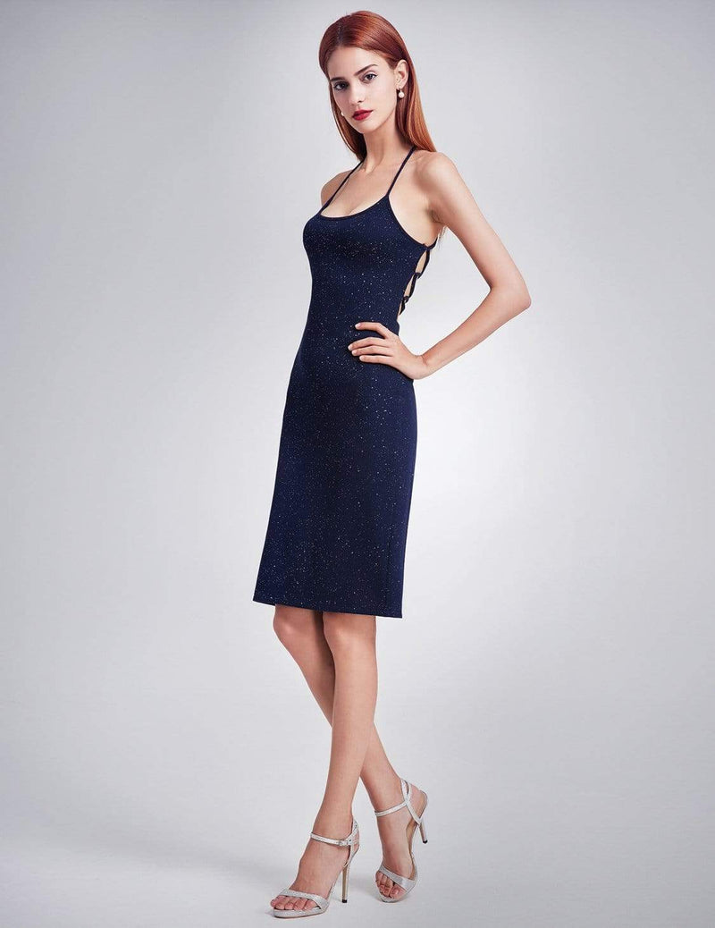 Alisa Pan Cross Back Stardust Cocktail Dress-Navy Blue 4