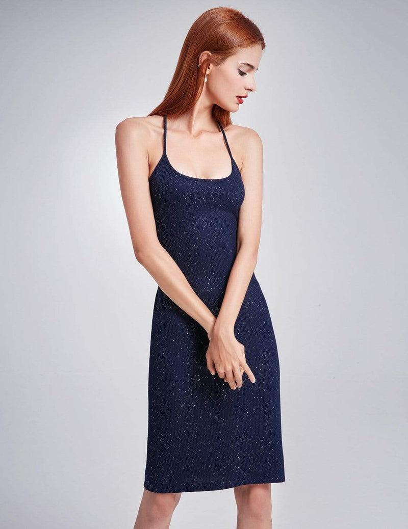 Alisa Pan Cross Back Stardust Cocktail Dress-Navy Blue 5