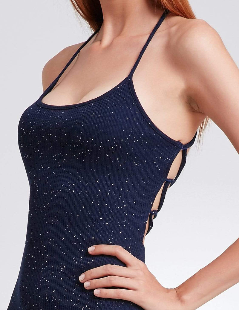 Alisa Pan Cross Back Stardust Cocktail Dress-Navy Blue 6