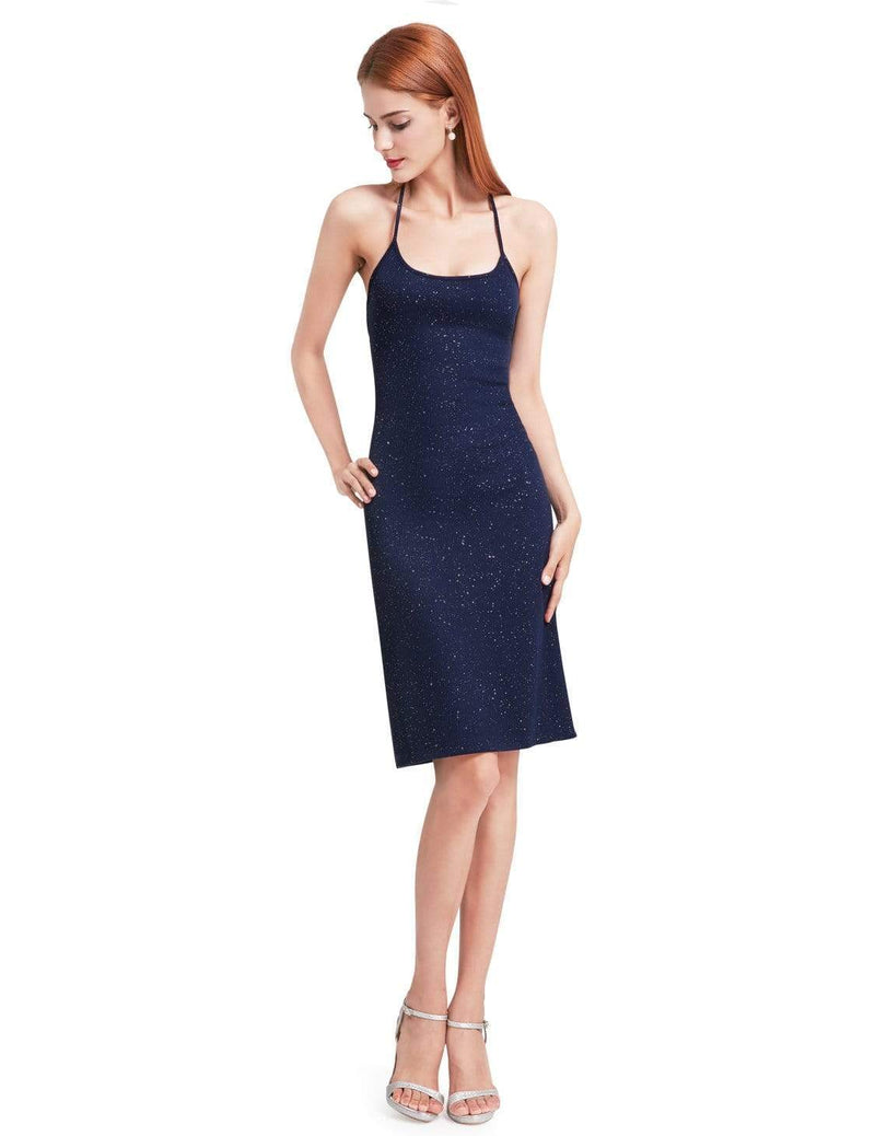 Alisa Pan Cross Back Stardust Cocktail Dress-Navy Blue 1