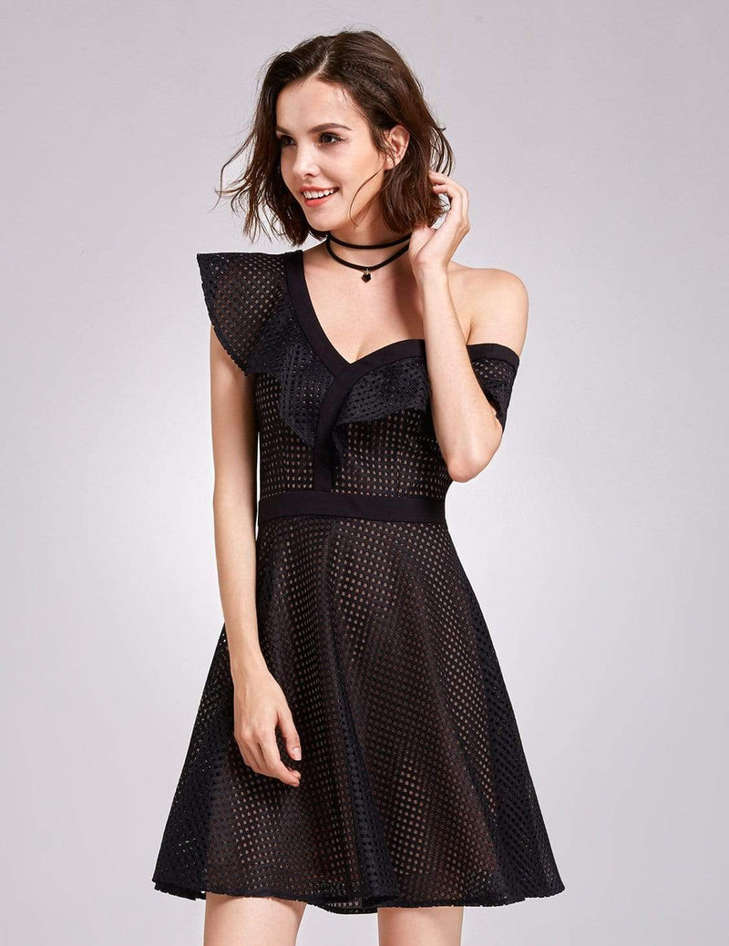 Alisa Pan One Shoulder Party Dress-Black 6