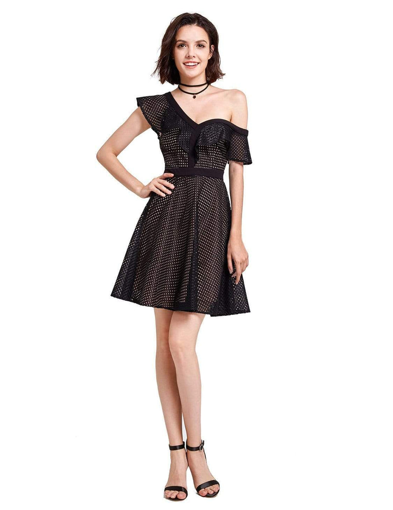 Alisa Pan One Shoulder Party Dress-Black 2