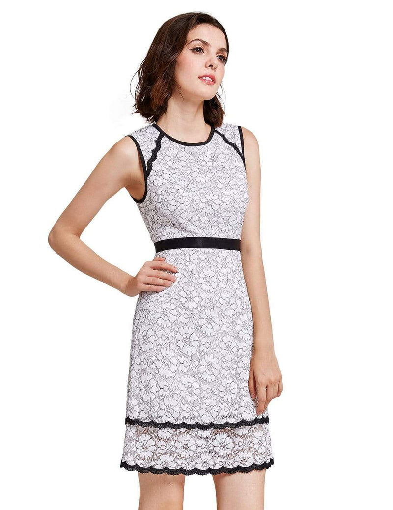 Alisa Pan Lace Wear To Work Dress-White 2