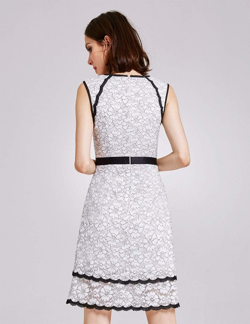 Alisa Pan Lace Wear To Work Dress-White 3