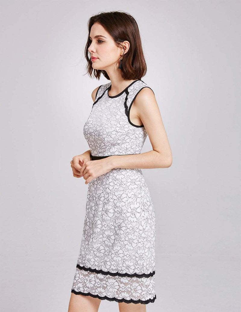 Alisa Pan Lace Wear To Work Dress-White 4