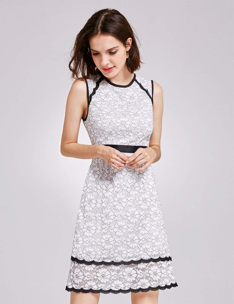 Alisa Pan Lace Wear To Work Dress-White 5