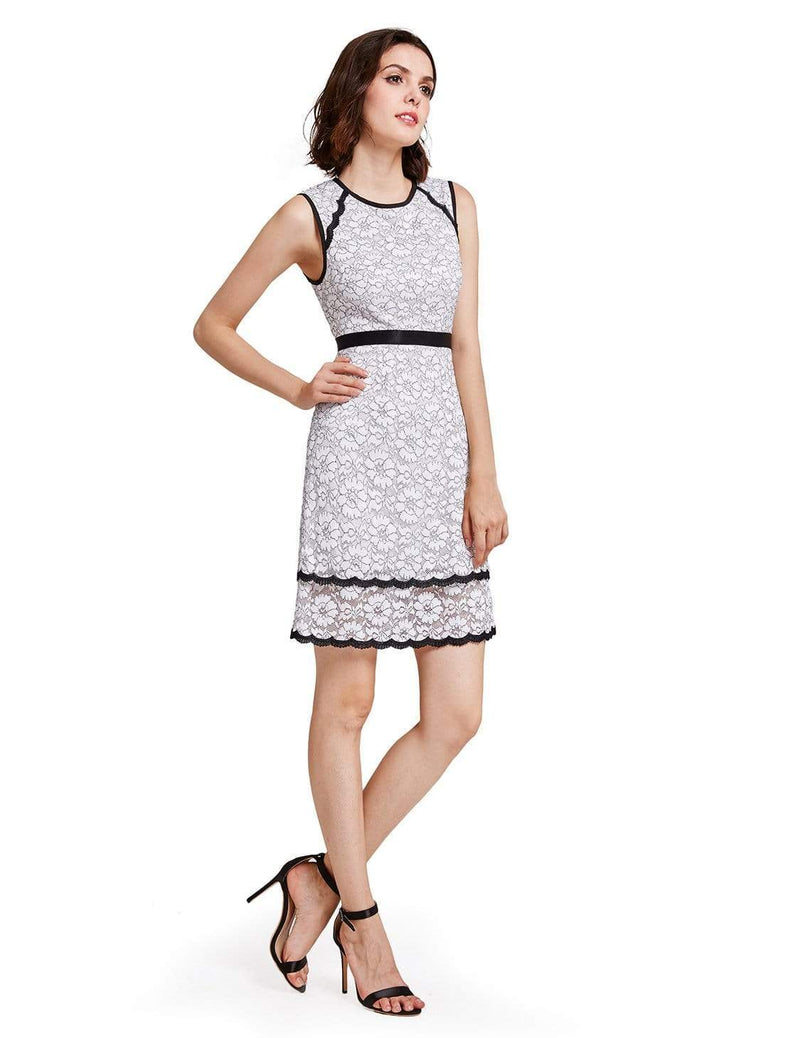 Alisa Pan Lace Wear To Work Dress-White 1