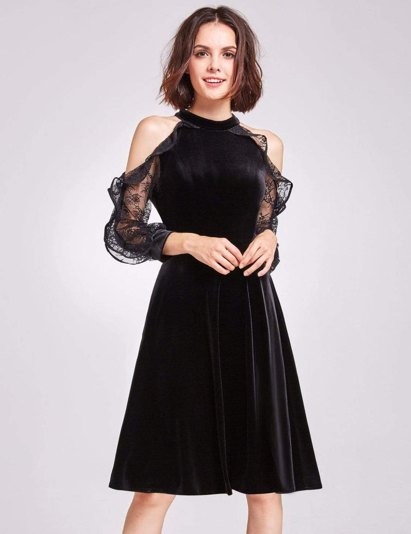 Alisa Pan Cold Shoulder Velvet Party Dress-Black 1