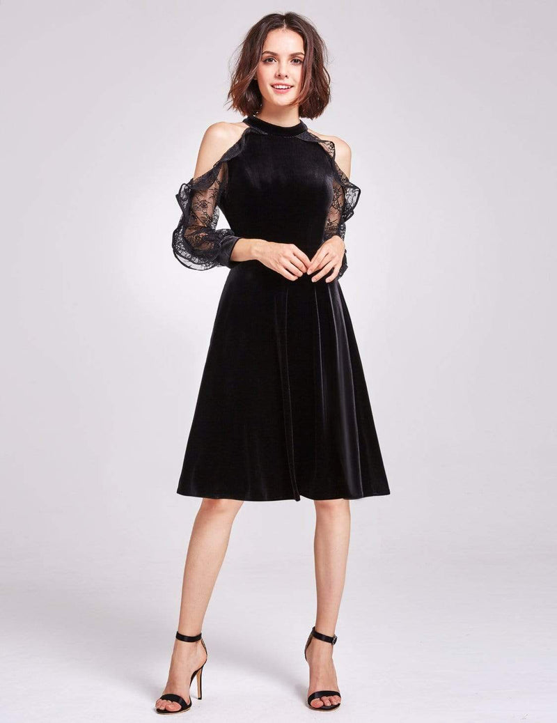 Alisa Pan Cold Shoulder Velvet Party Dress-Black 2