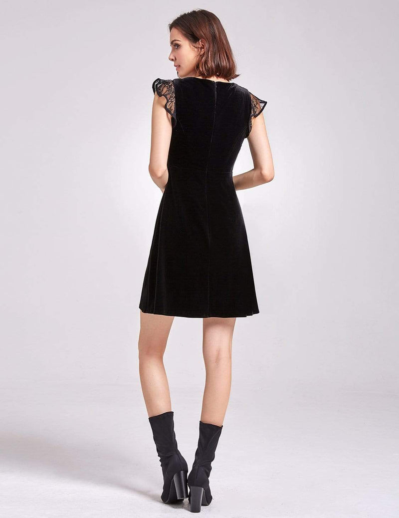 Alisa Pan Velvet Cap Sleeve Party Dress-Black 3