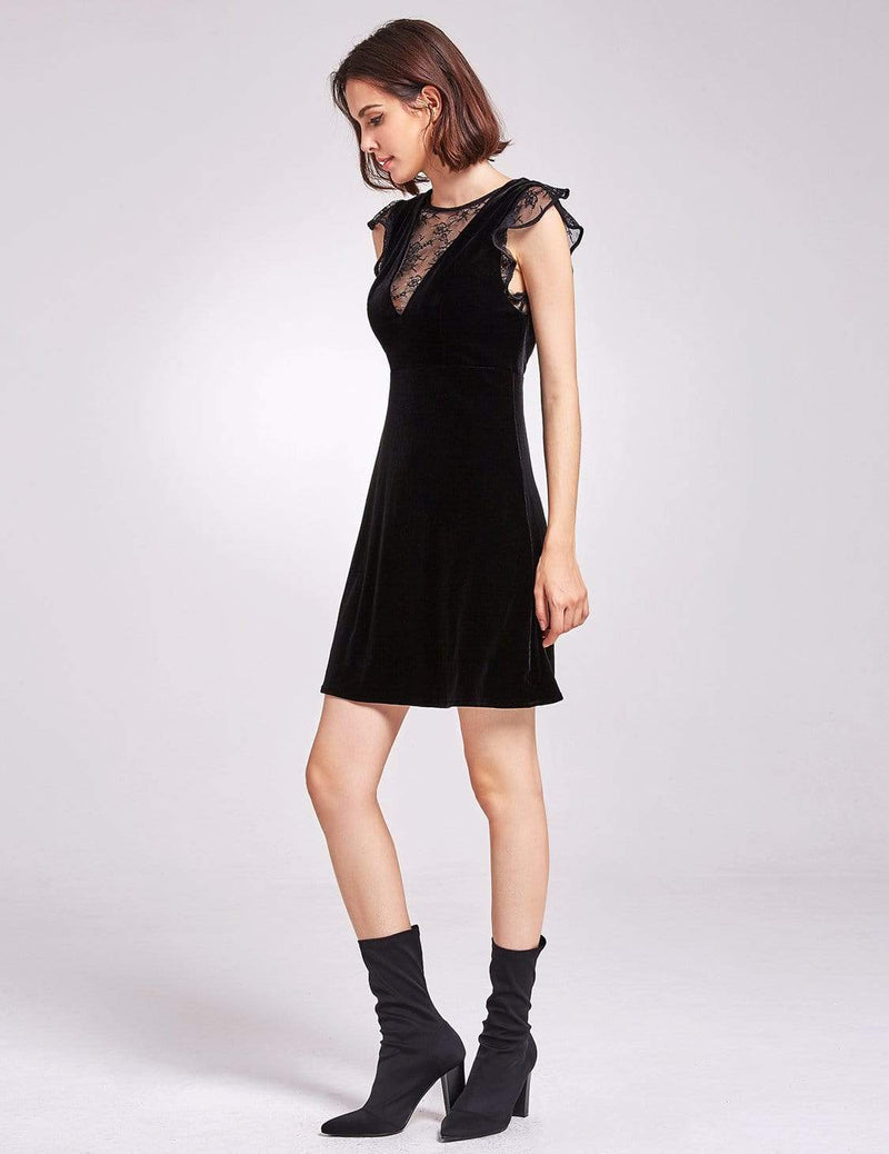 Alisa Pan Velvet Cap Sleeve Party Dress-Black 4