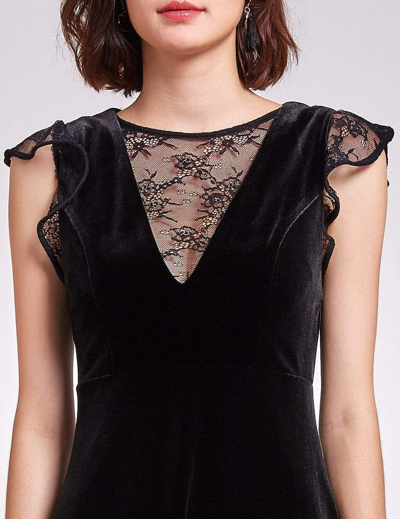 Alisa Pan Velvet Cap Sleeve Party Dress-Black 6