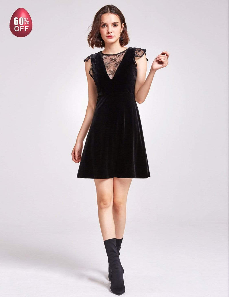 Alisa Pan Velvet Cap Sleeve Party Dress-Black 7