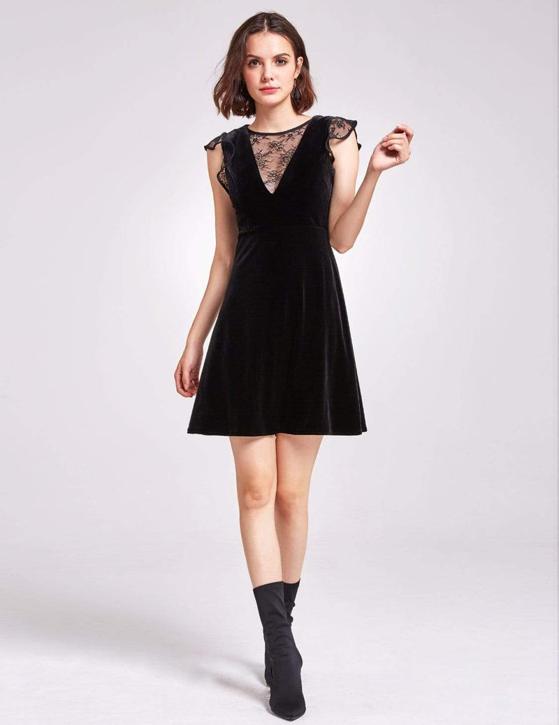 Alisa Pan Velvet Cap Sleeve Party Dress-Black 1