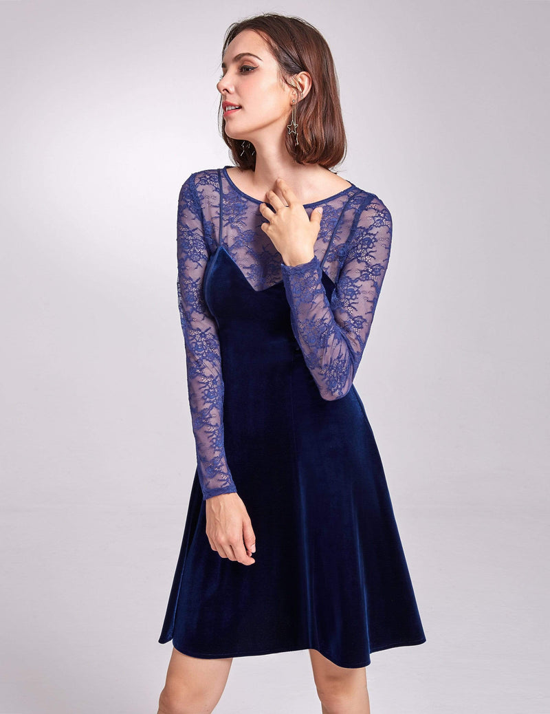 Alisa Pan Long Sleeve Velvet Party Dress-Midnight Blue 5