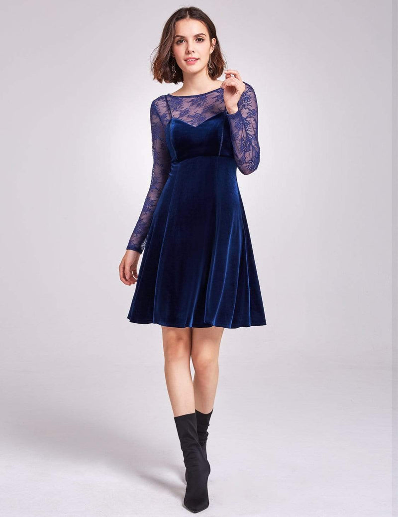 Alisa Pan Long Sleeve Velvet Party Dress-Midnight Blue 3