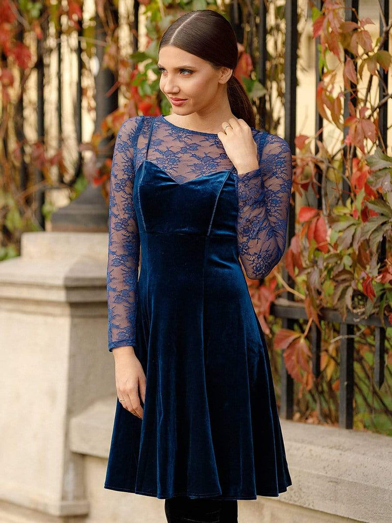 Alisa Pan Long Sleeve Velvet Party Dress-Midnight Blue 1