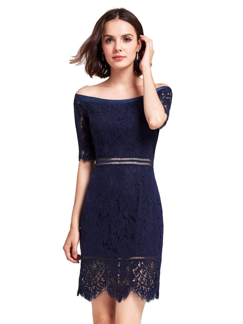 Alisa Pan Off Shoulder Short Cocktail Party Dress-Navy Blue 2