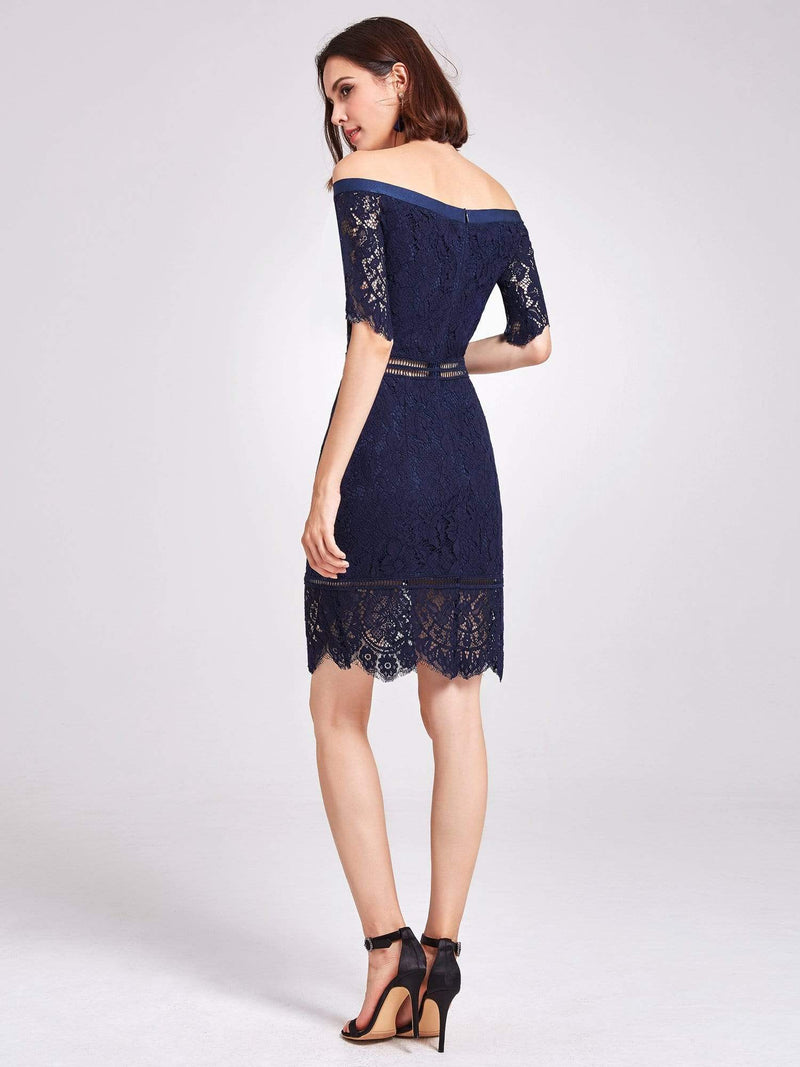 Alisa Pan Off Shoulder Short Cocktail Party Dress-Navy Blue 3