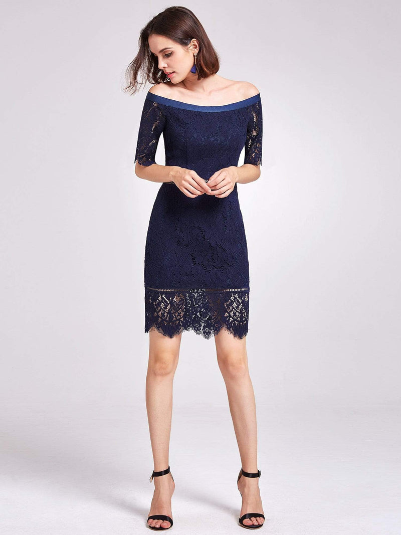 Alisa Pan Off Shoulder Short Cocktail Party Dress-Navy Blue 5