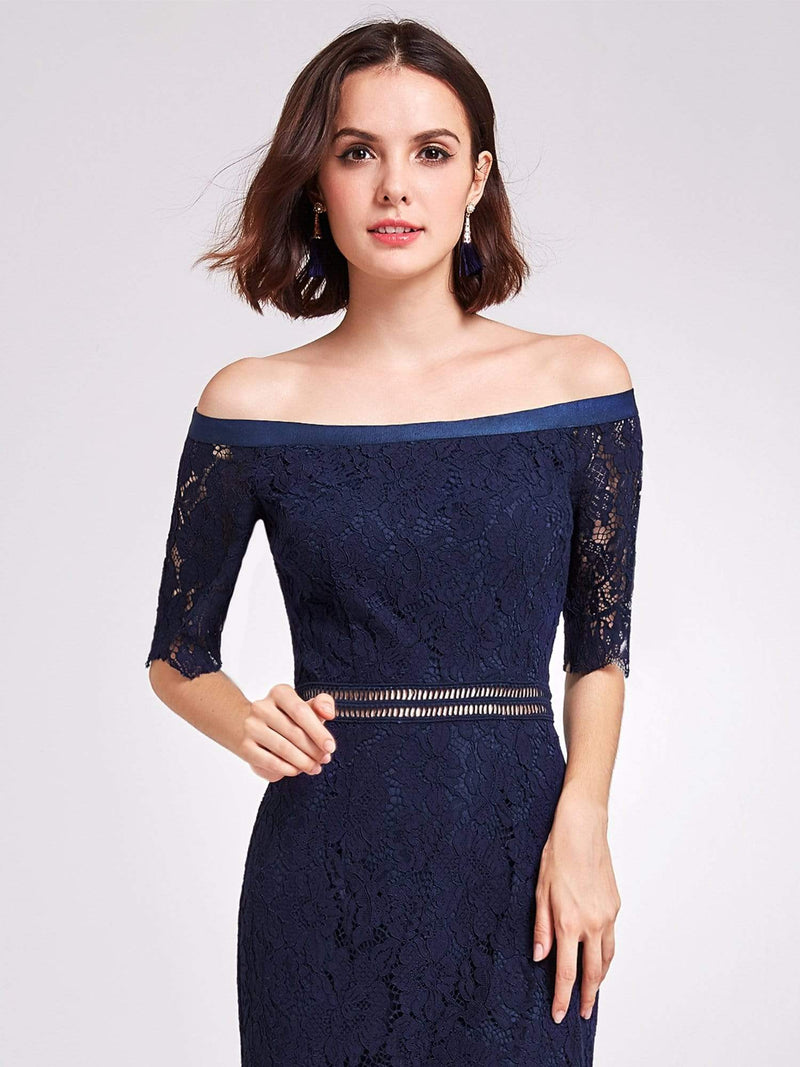 Alisa Pan Off Shoulder Short Cocktail Party Dress-Navy Blue 6