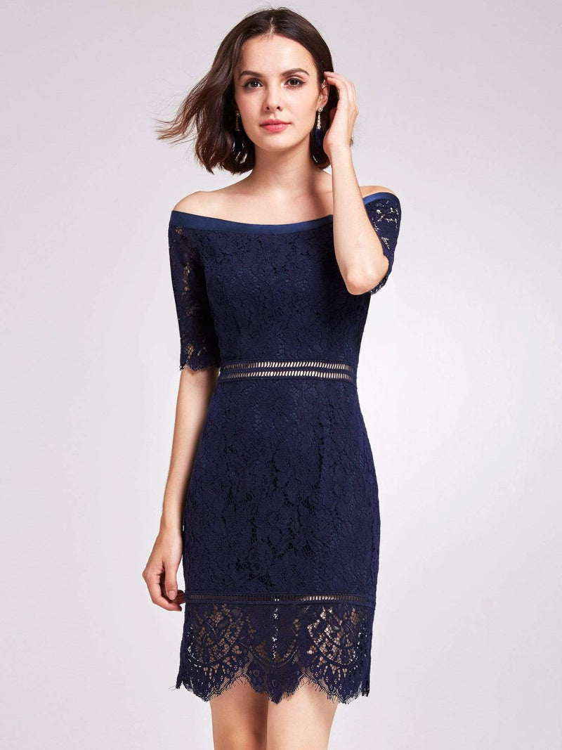 Alisa Pan Off Shoulder Short Cocktail Party Dress-Navy Blue 1