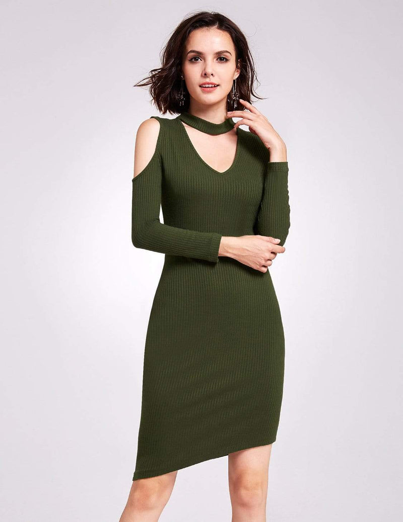 Alisa Pan Long Sleeve Cold Shoulder Knit Dress-Green 2