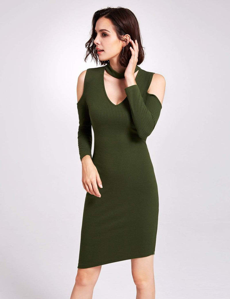 Alisa Pan Long Sleeve Cold Shoulder Knit Dress-Green 4