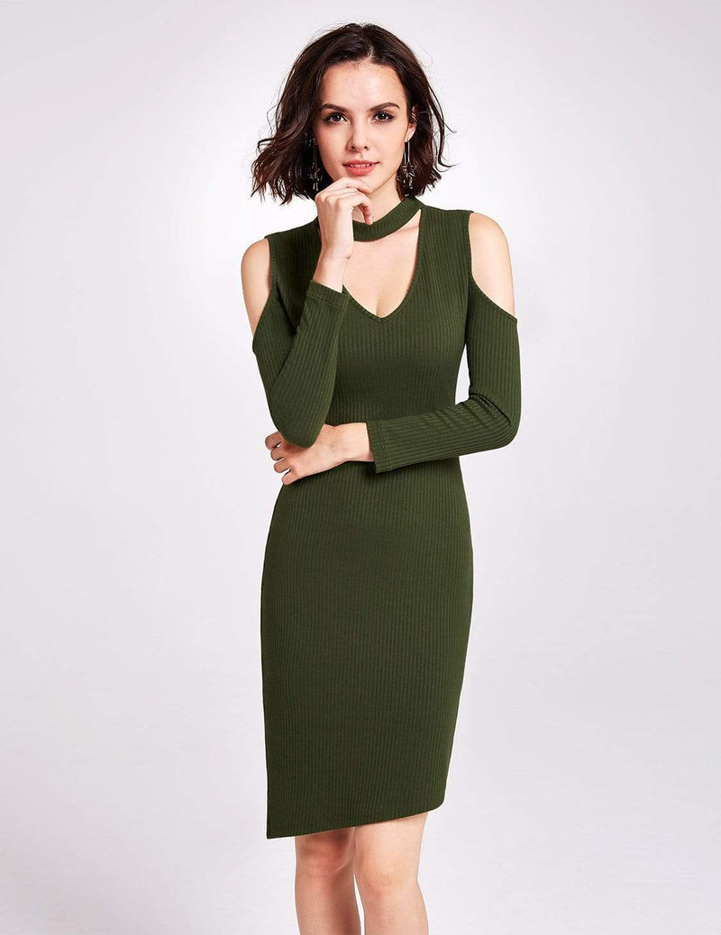 Alisa Pan Long Sleeve Cold Shoulder Knit Dress-Green 5