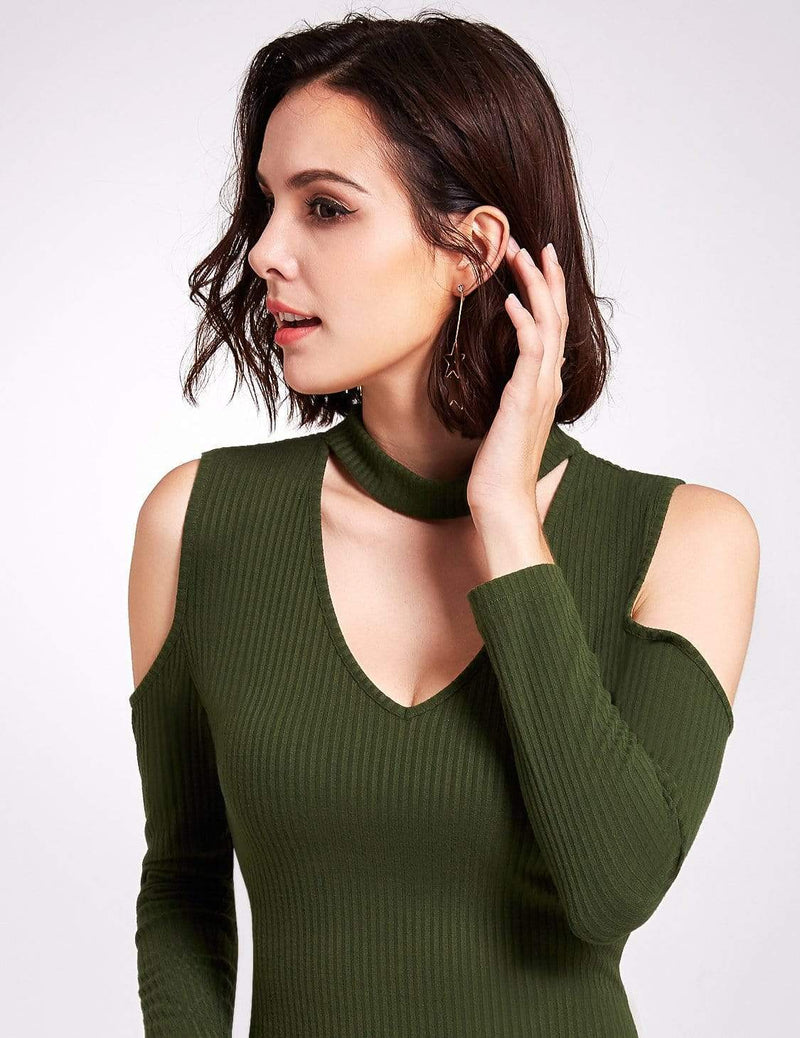 Alisa Pan Long Sleeve Cold Shoulder Knit Dress-Green 6