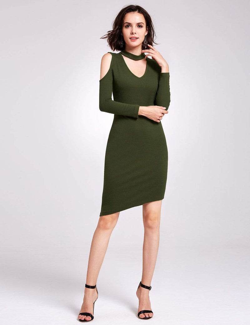 Alisa Pan Long Sleeve Cold Shoulder Knit Dress-Green 1