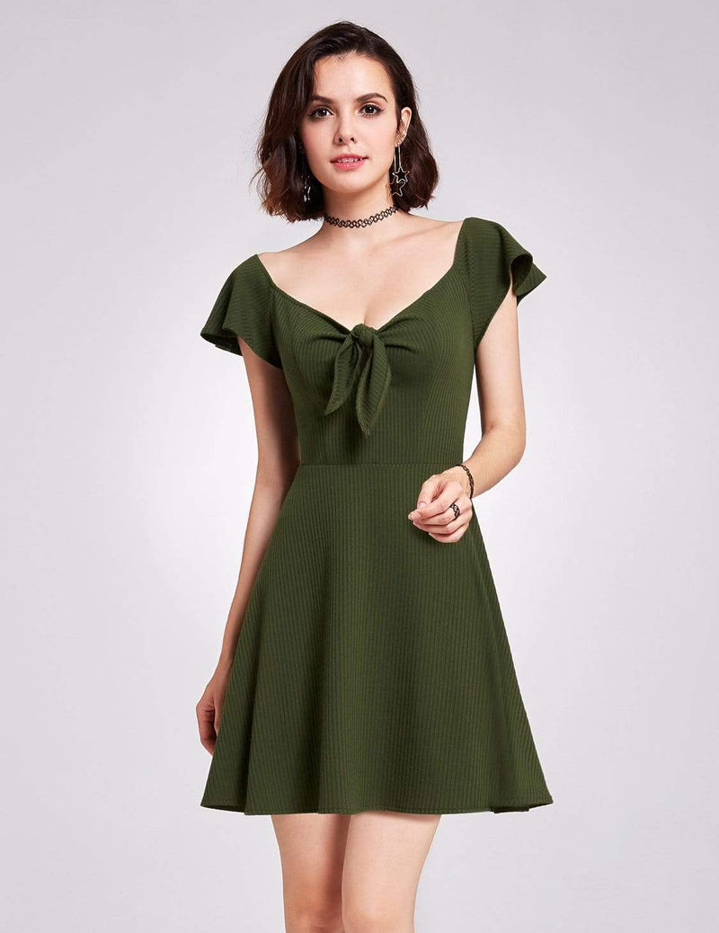 Alisa Pan Short Sleeve Casual Knit Dress-Green 3