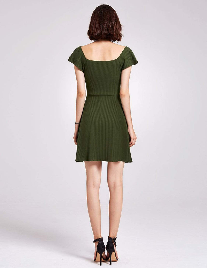 Alisa Pan Short Sleeve Casual Knit Dress-Green 4