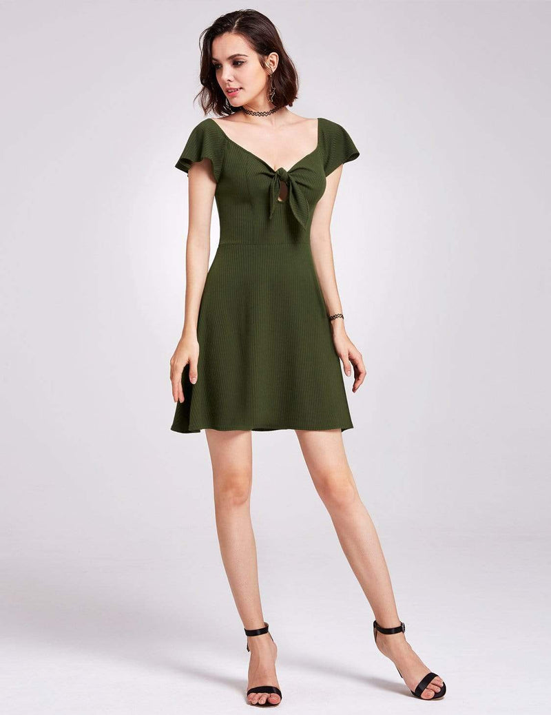Alisa Pan Short Sleeve Casual Knit Dress-Green 5