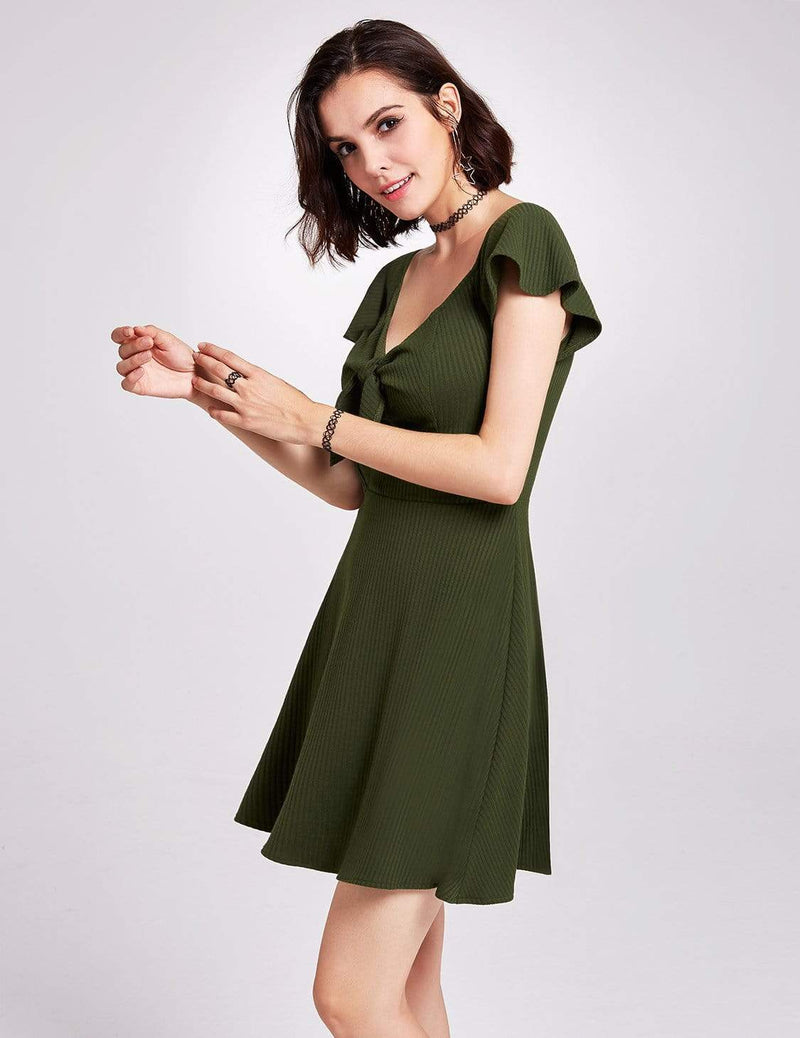 Alisa Pan Short Sleeve Casual Knit Dress-Green 6