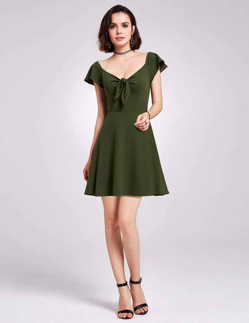 Alisa Pan Short Sleeve Casual Knit Dress-Green 2