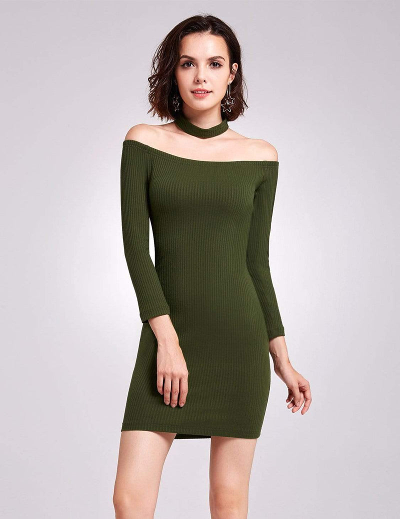Alisa Pan Off Shoulder Knit Party Dress-Green 3