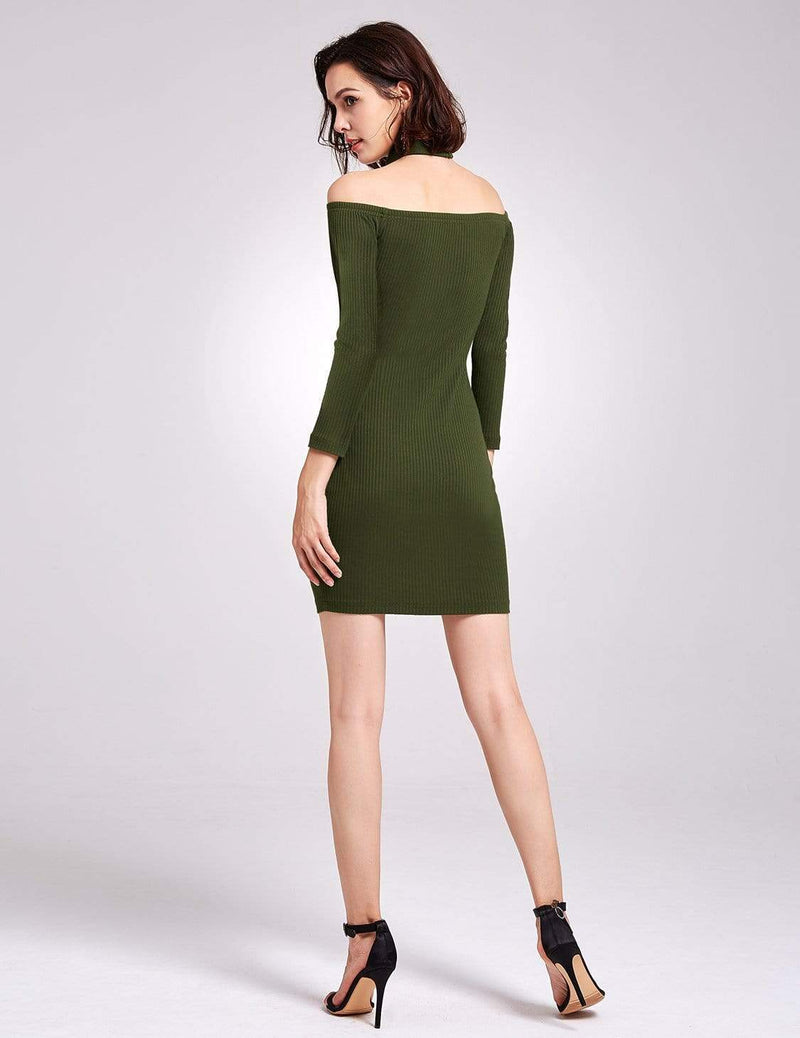 Alisa Pan Off Shoulder Knit Party Dress-Green 4