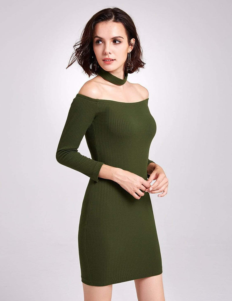 Alisa Pan Off Shoulder Knit Party Dress-Green 5