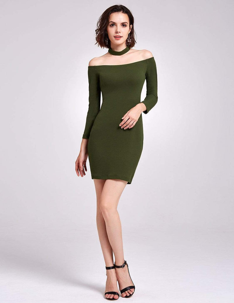 Alisa Pan Off Shoulder Knit Party Dress-Green 6
