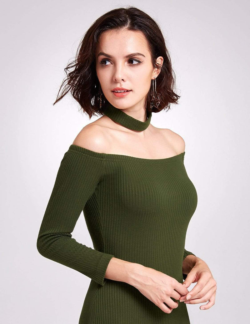 Alisa Pan Off Shoulder Knit Party Dress-Green 7