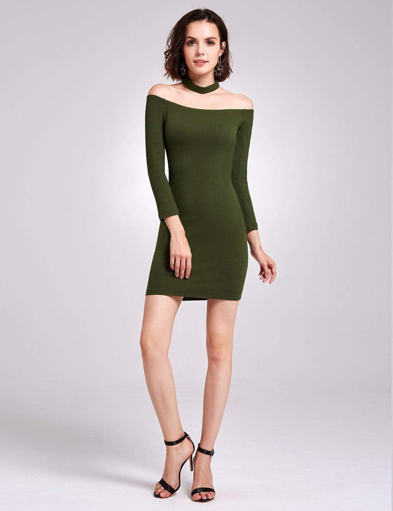 Alisa Pan Off Shoulder Knit Party Dress-Green 2
