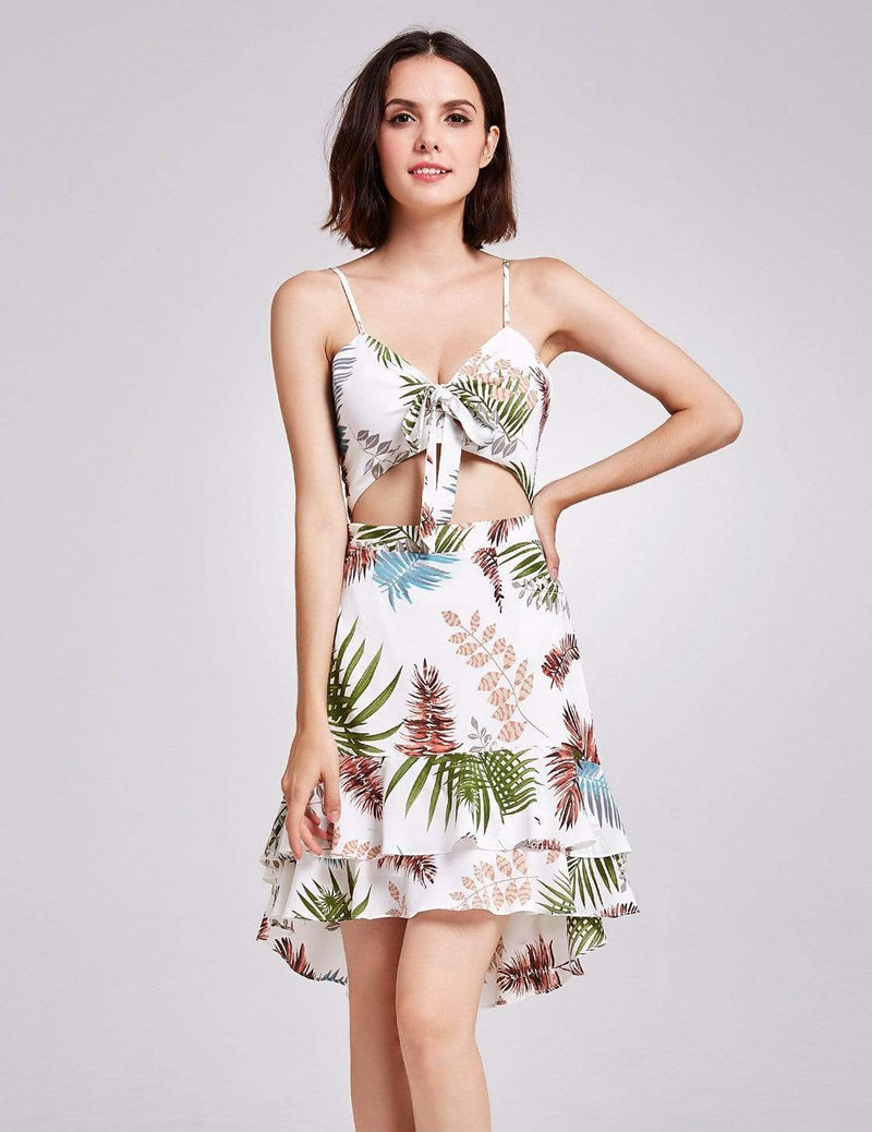 Alisa Pan Tropical Print High Low Summer Dress-Cream 5