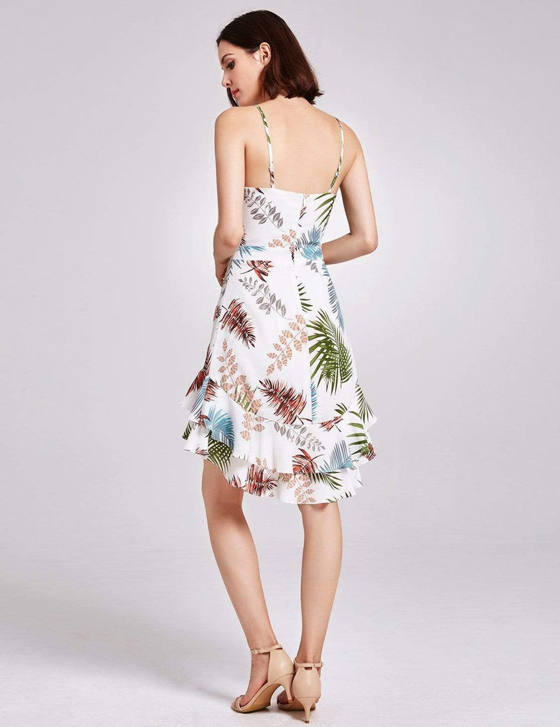 Alisa Pan Tropical Print High Low Summer Dress-Cream 6