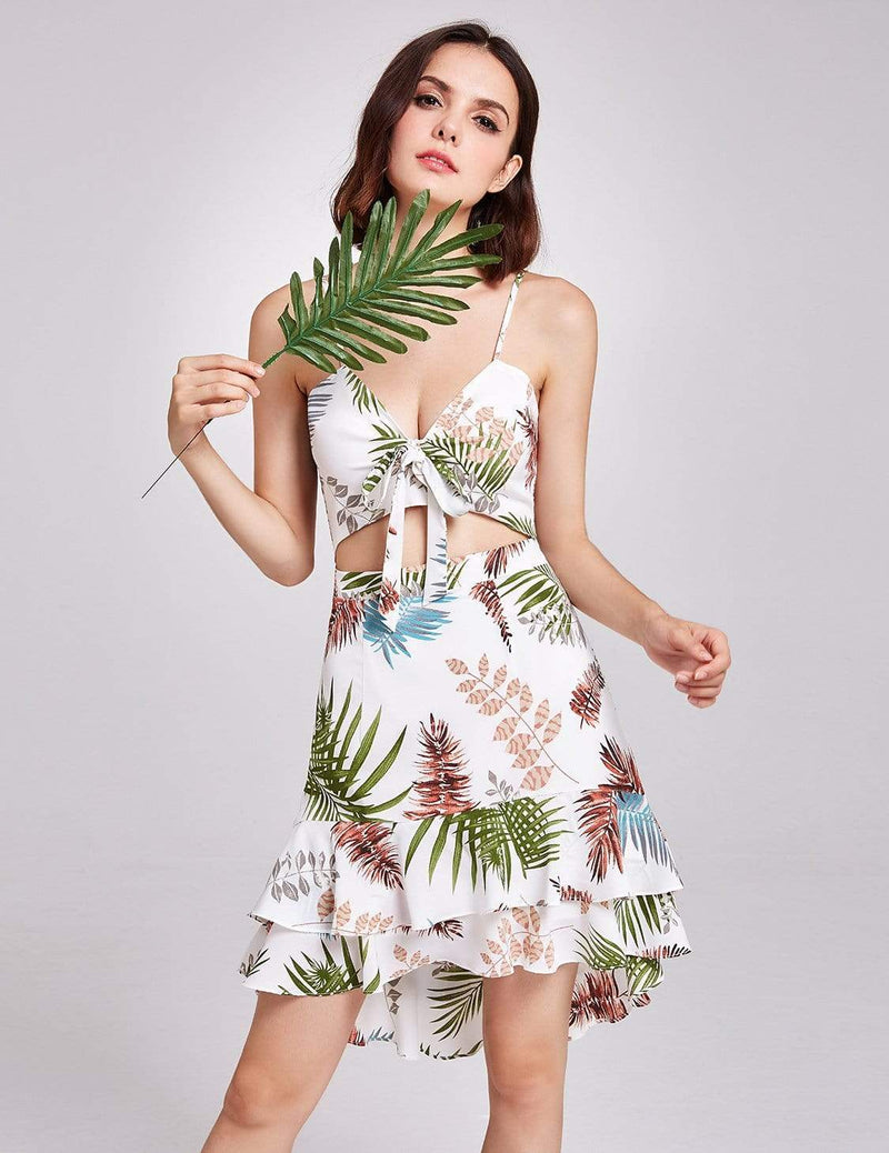 Alisa Pan Tropical Print High Low Summer Dress-Cream 7