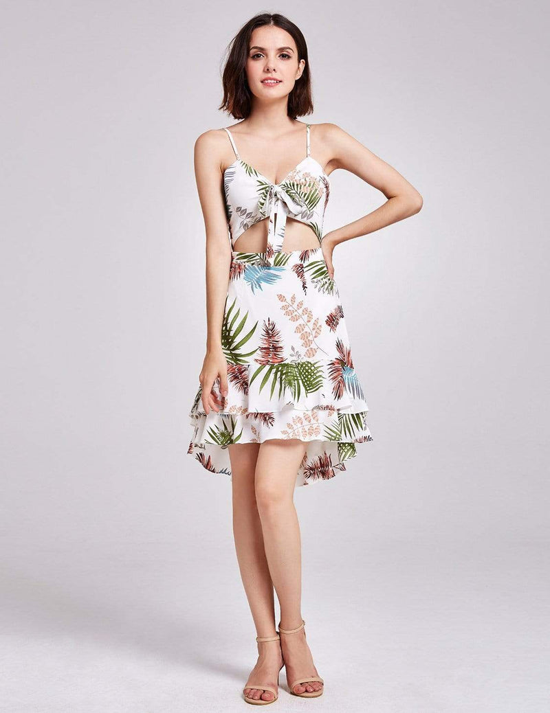 Alisa Pan Tropical Print High Low Summer Dress-Cream 4
