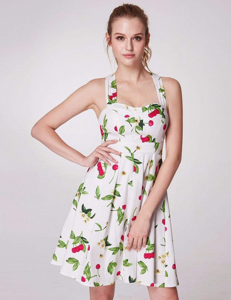 Alisa Pan Retro Cherry Print Fit And Flare Dress-White 4