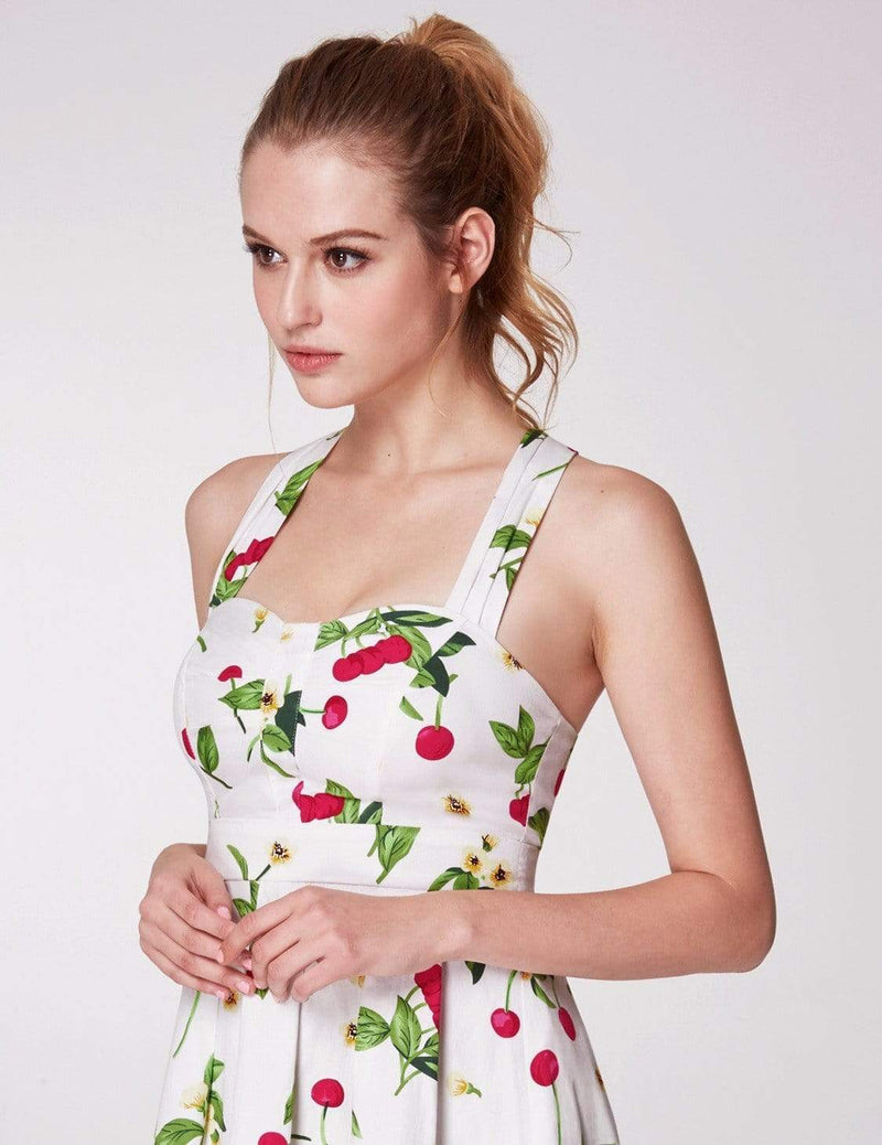 Alisa Pan Retro Cherry Print Fit And Flare Dress-White 5